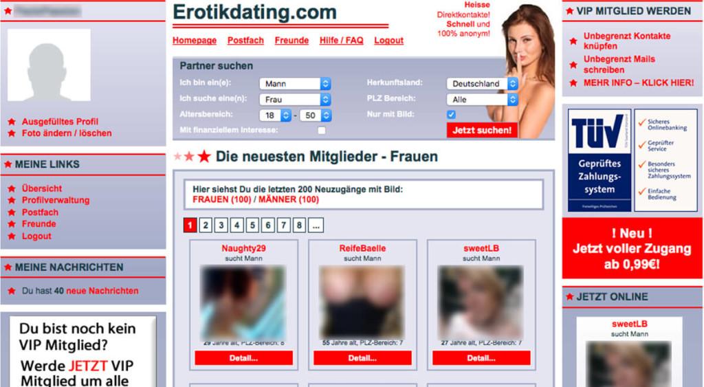 Erotikdating.com-Mitgliederbereich