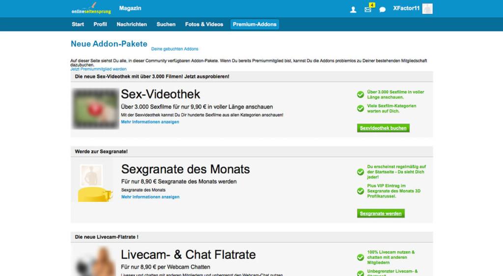 Onlineseitensprung.de-Kosten